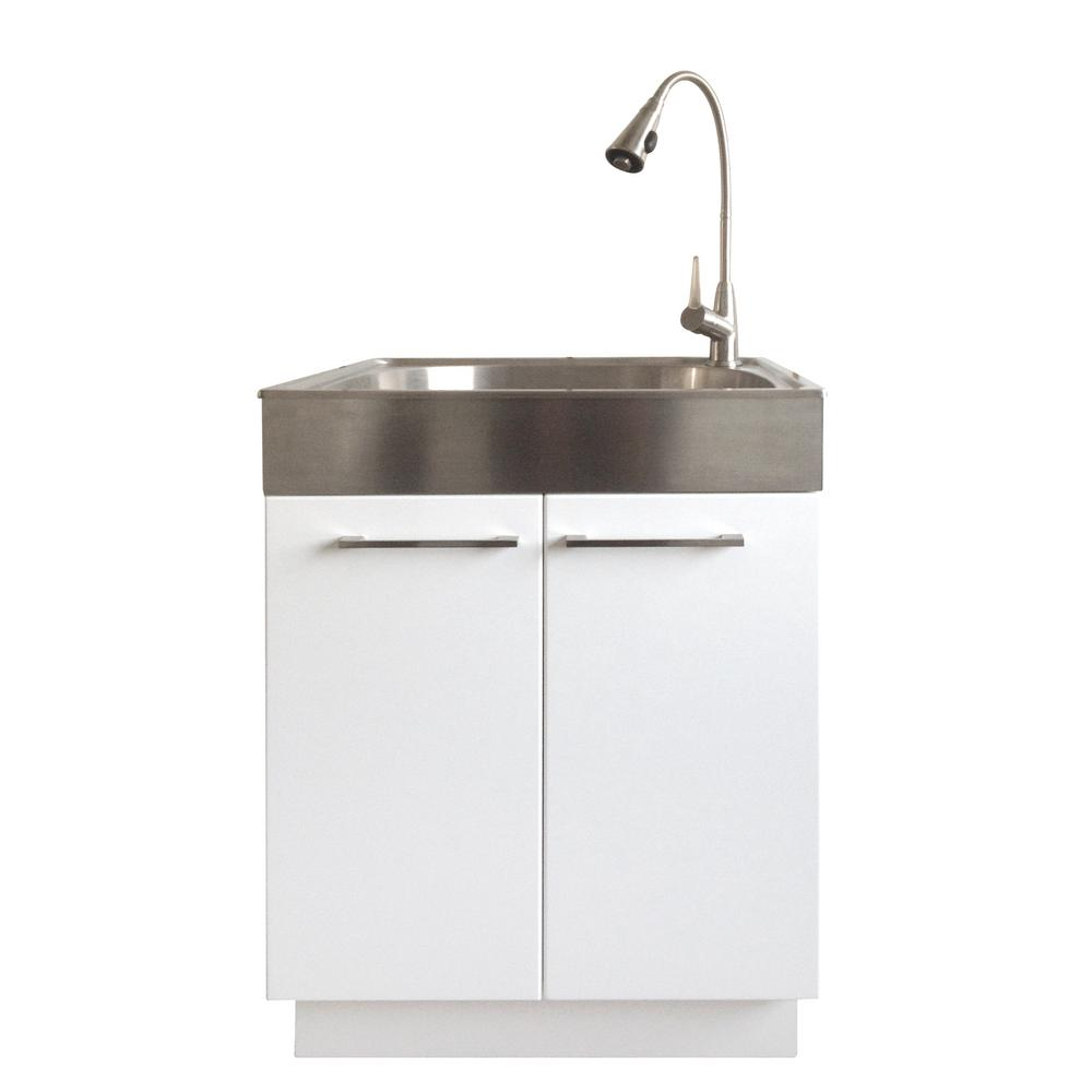 Garage Utility Sink All In One 24 2 In X 21 3 In X 33 8 In Stainless Steel Laundry Sink And White 2 Door Cabinet