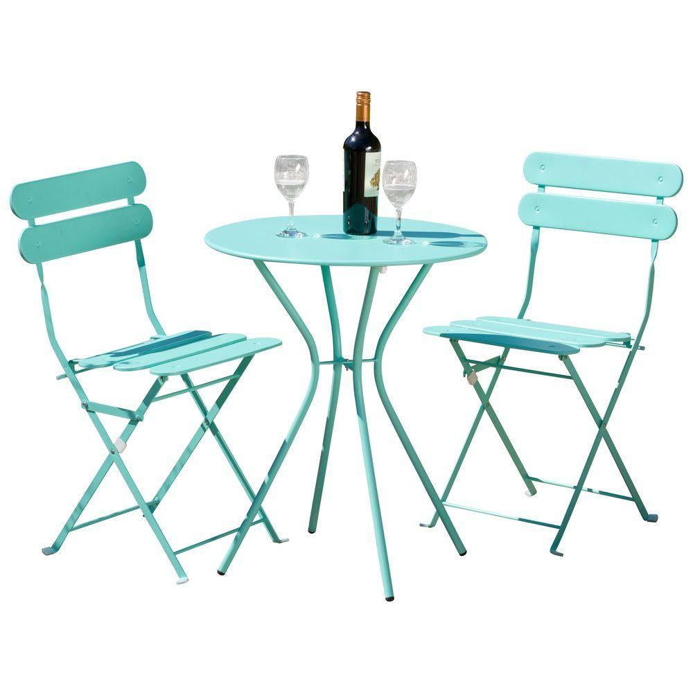 Chaise Metal Bistro Rst Brands Sol Blue 3 Piece Patio Bistro Set