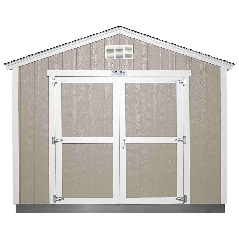 Home Depot Sheds For Sale Installed Tahoe Tall Ranch 10 Ft X 12 Ft X 8 Ft 10 In Painted Storage Building With Shingles And Endwall Double Door