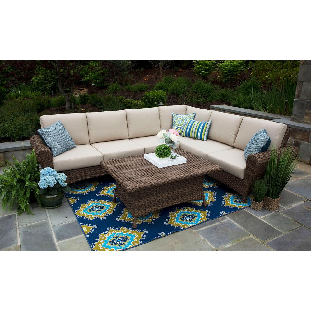 Big Sofa Sand Canopy Aspen 5 Piece Resin Wicker Outdoor Sectional With Sunbrella Spectrum Sand Cushions