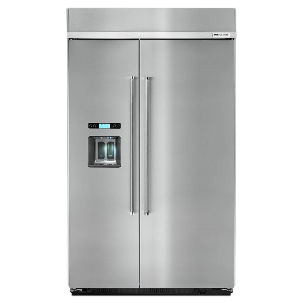 Kitchenaid Krff302ess 29 5 Cu Ft Built In Side By Side Refrigerator In Stainless Steel