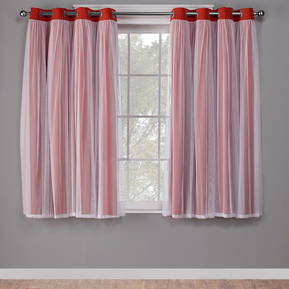 Orange Curtain Panels Catarina 52 In W X 63 In L Layered Sheer Blackout Grommet Top Curtain Panel In Spicy Orange 2 Panels
