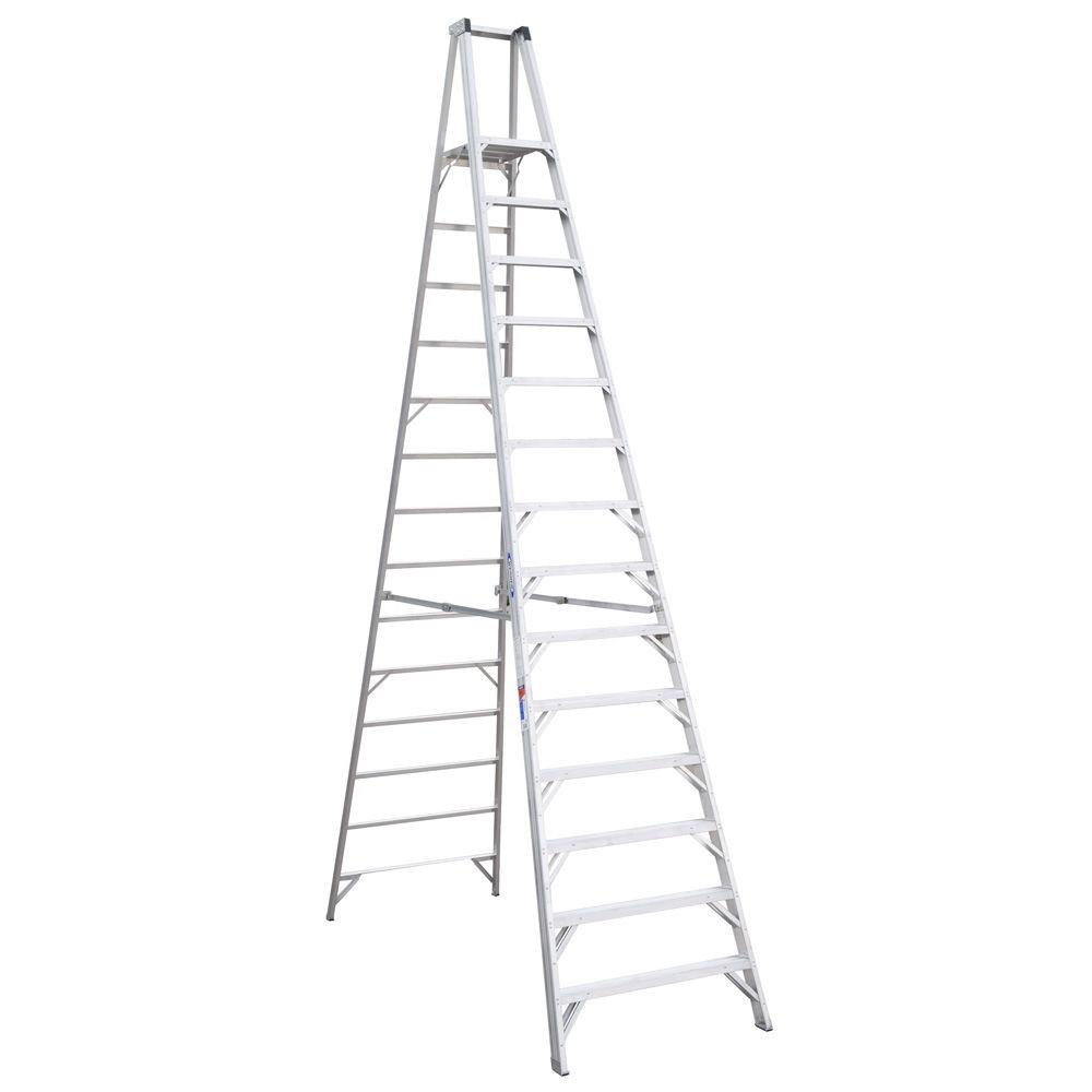 20' Ladder Home Depot Werner 20 Ft Reach Aluminum Platform Step Ladder With 300 Lb Load Capacity Type Ia Duty Rating