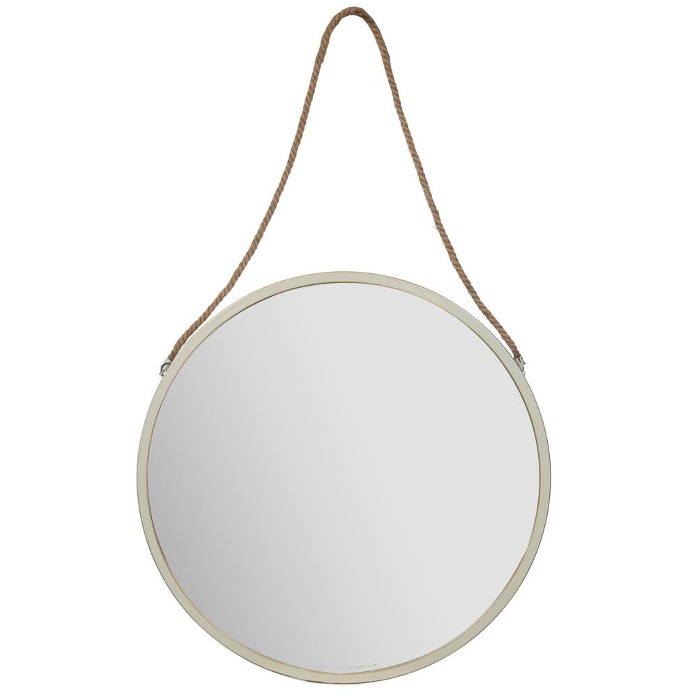 Decorative Mirror Pinnacle Rustic Hanging Rope Round White Decorative Mirror