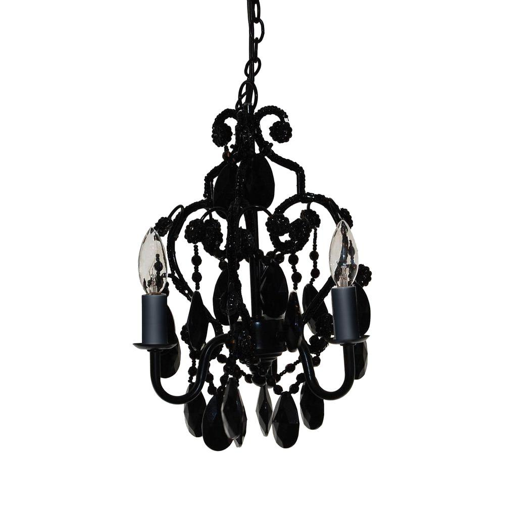 Small Simple Chandelier Tadpoles 3 Light Black Onyx Mini Chandelier