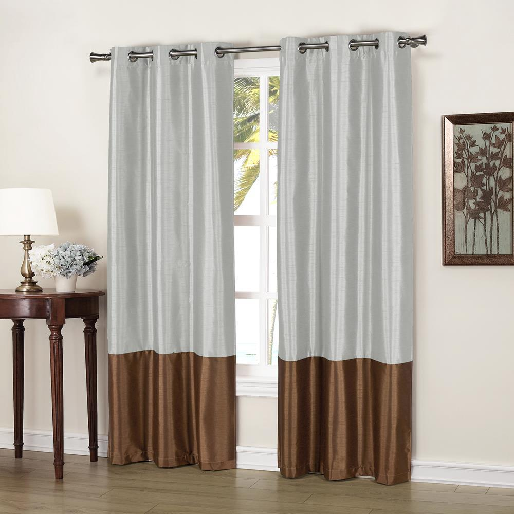 Faux Silk Curtains Duck River Bridgette 37 In X 84 In L Polyester Faux Silk Curtain Panel In Chocolate Silver 2 Pack