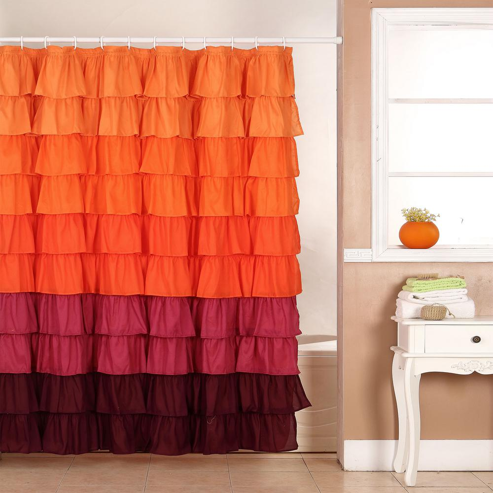 Red And Brown Shower Curtain Lavish Home 72 In Ruffle Shower Curtain With Buttonhole In Orange