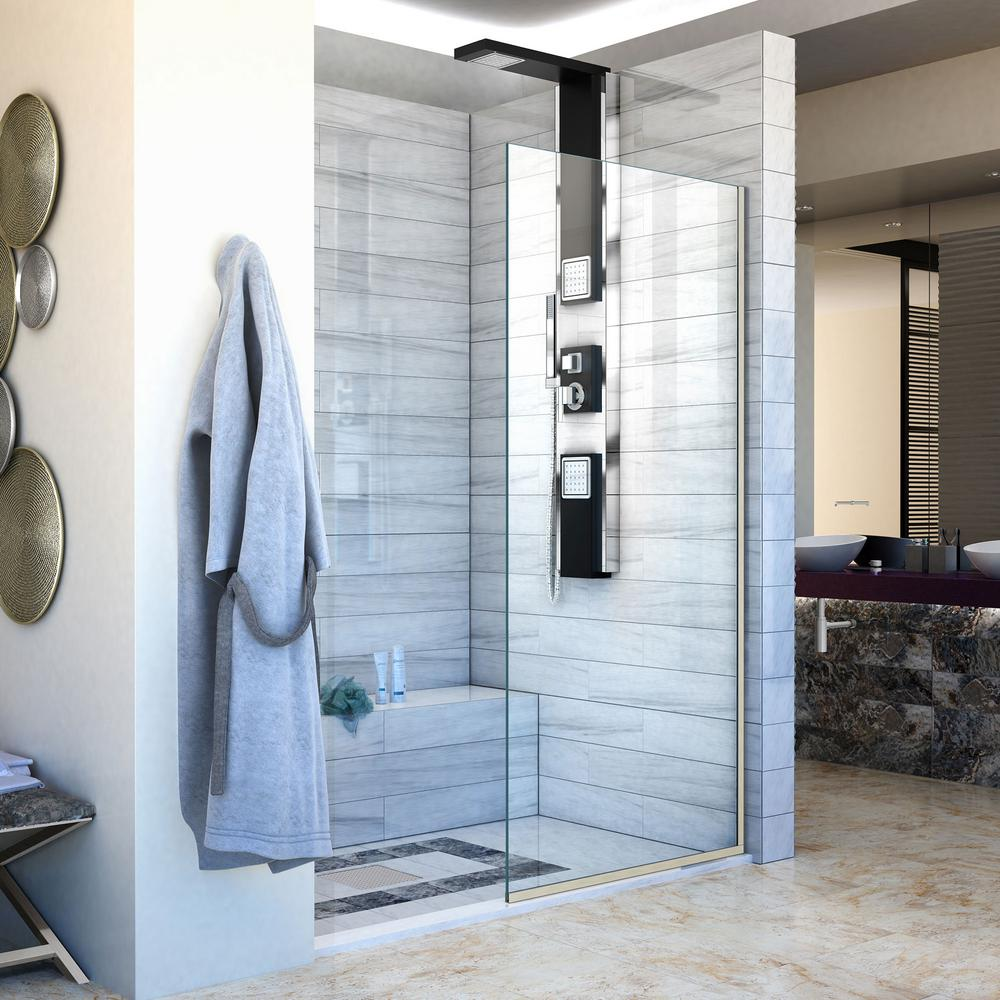 Store Without A Home Dreamline Linea 34 In X 72 In Semi Frameless Fixed Shower Door Without Handle In Brushed Nickel