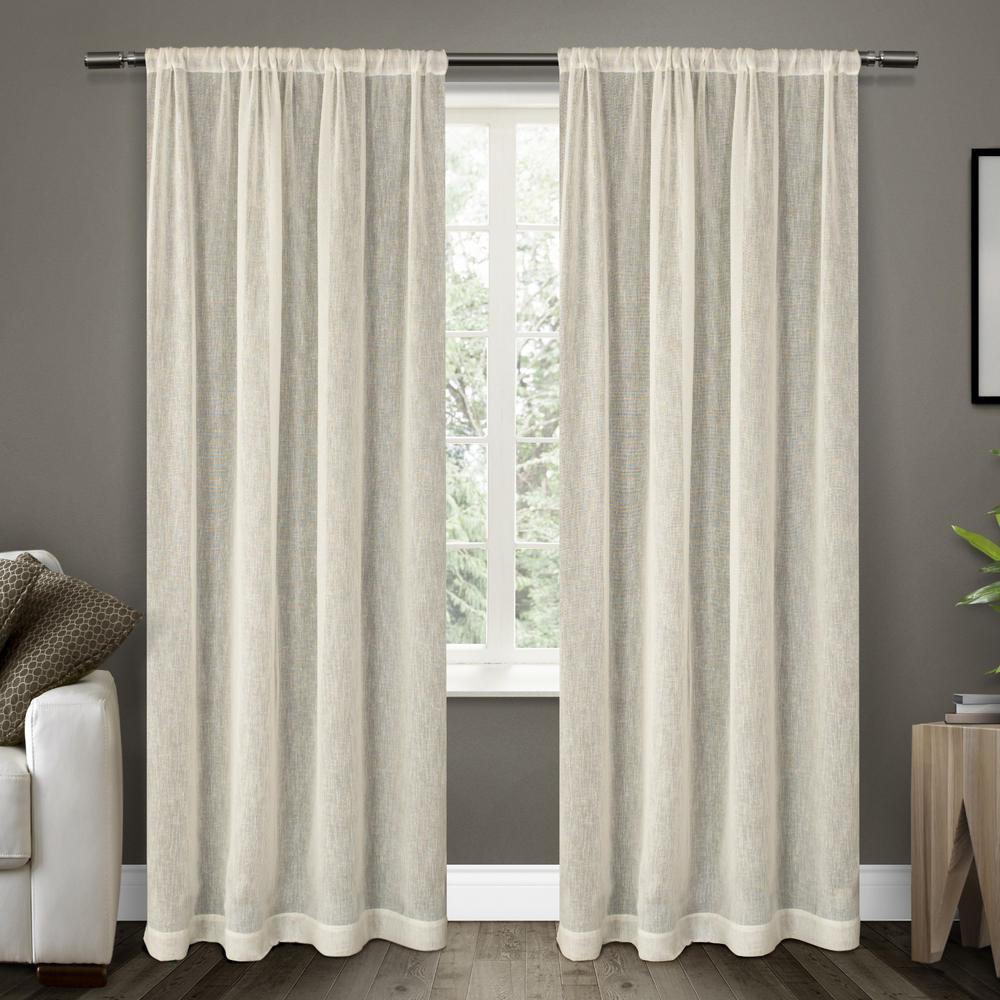 Panel Curtain Rods Belgian 50 In W X 96 In L Sheer Rod Pocket Top Curtain Panel In Snowflake 2 Panels