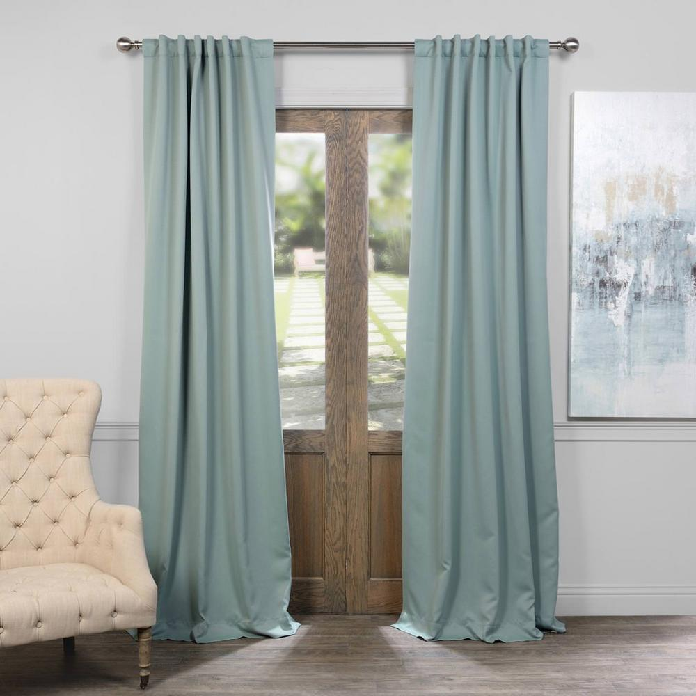 Teal Blackout Curtains Exclusive Fabrics Furnishings Semi Opaque Juniper Berry Green Blackout Curtain 50 In W X 84 In L Panel