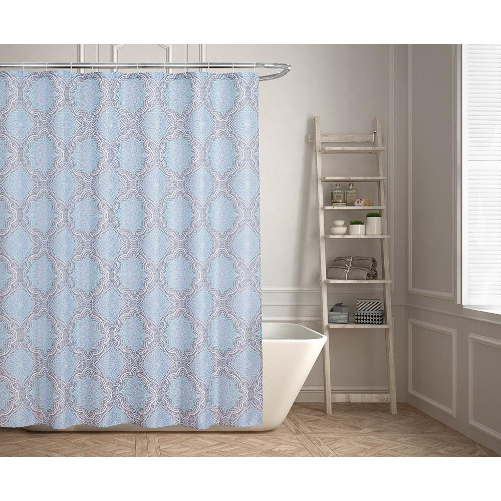 Bathroom Ideas With Shower Curtains Lexi 70 In Contemporary Geometric Design Shower Curtain