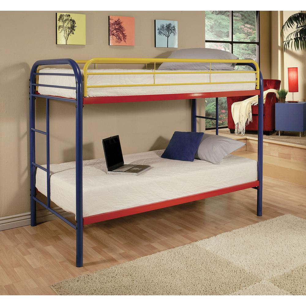 Kids Furniture Acme Furniture Thomas Twin Over Twin Metal Kids Bunk Bed