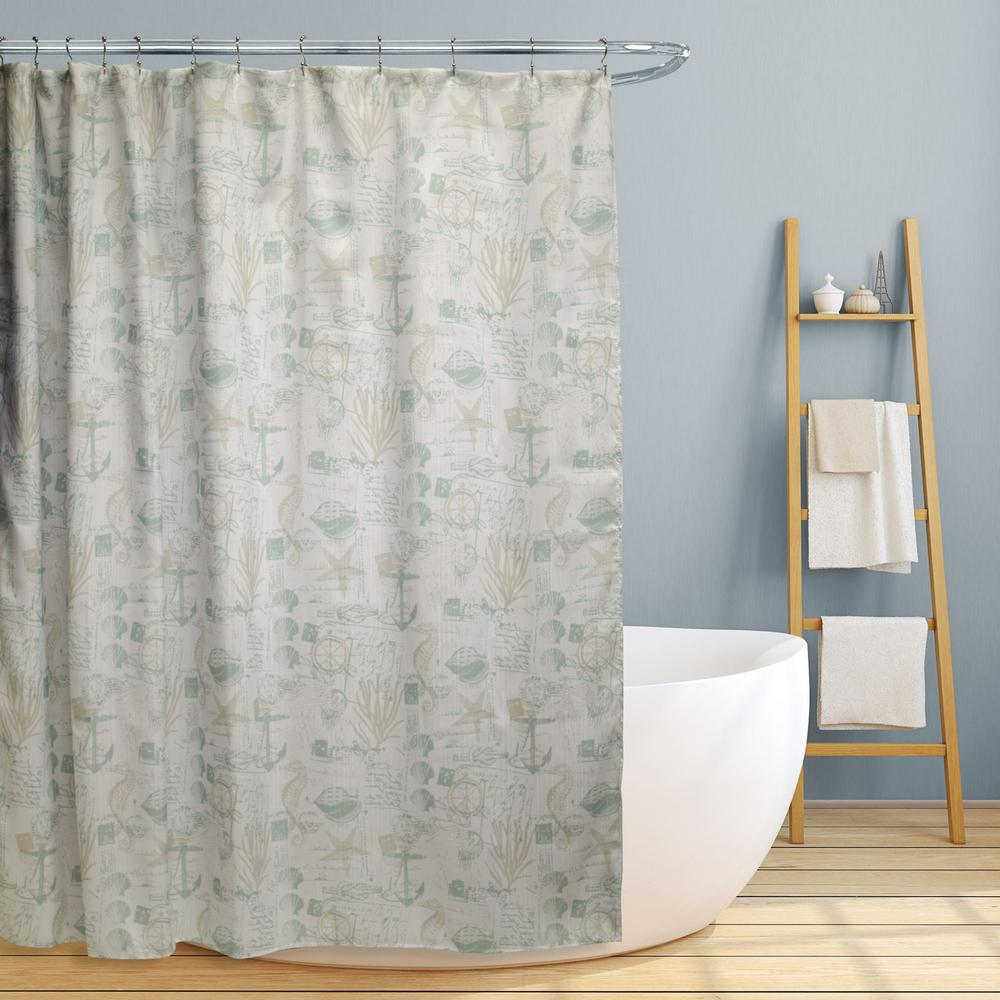 Nautical Fabric Shower Curtains Jamie 70 In Fun Nautical Design Canvas Shower Curtain
