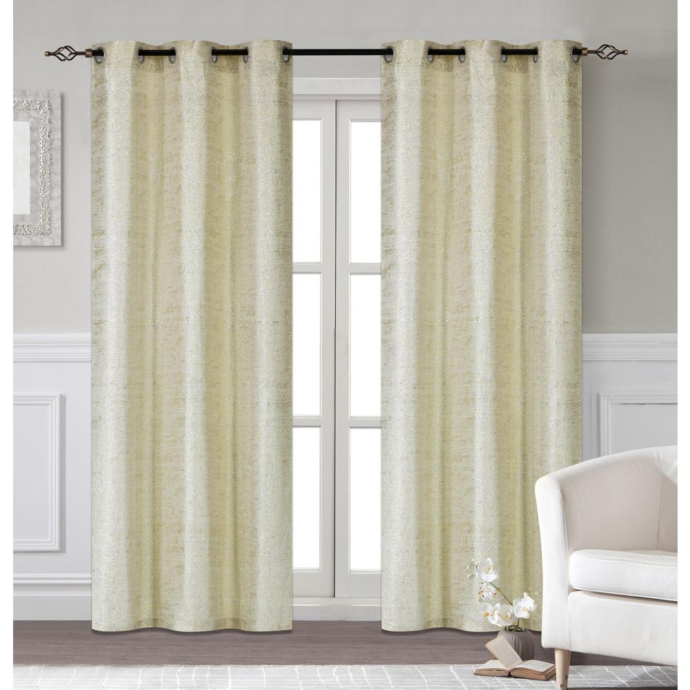Curtains For Long Windows Dainty Home Glamour 38 In W X 84 In L Polyester Extra Long Window Panel Pair In Champagne 2 Pack