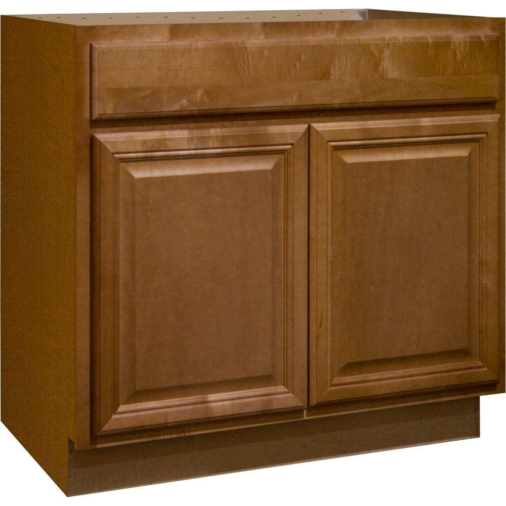 The Home Depot Kitchen Cabinets Hampton Bay Cambria Assembled 36x34 5x24 In Sink Base Kitchen Cabinet In Harvest