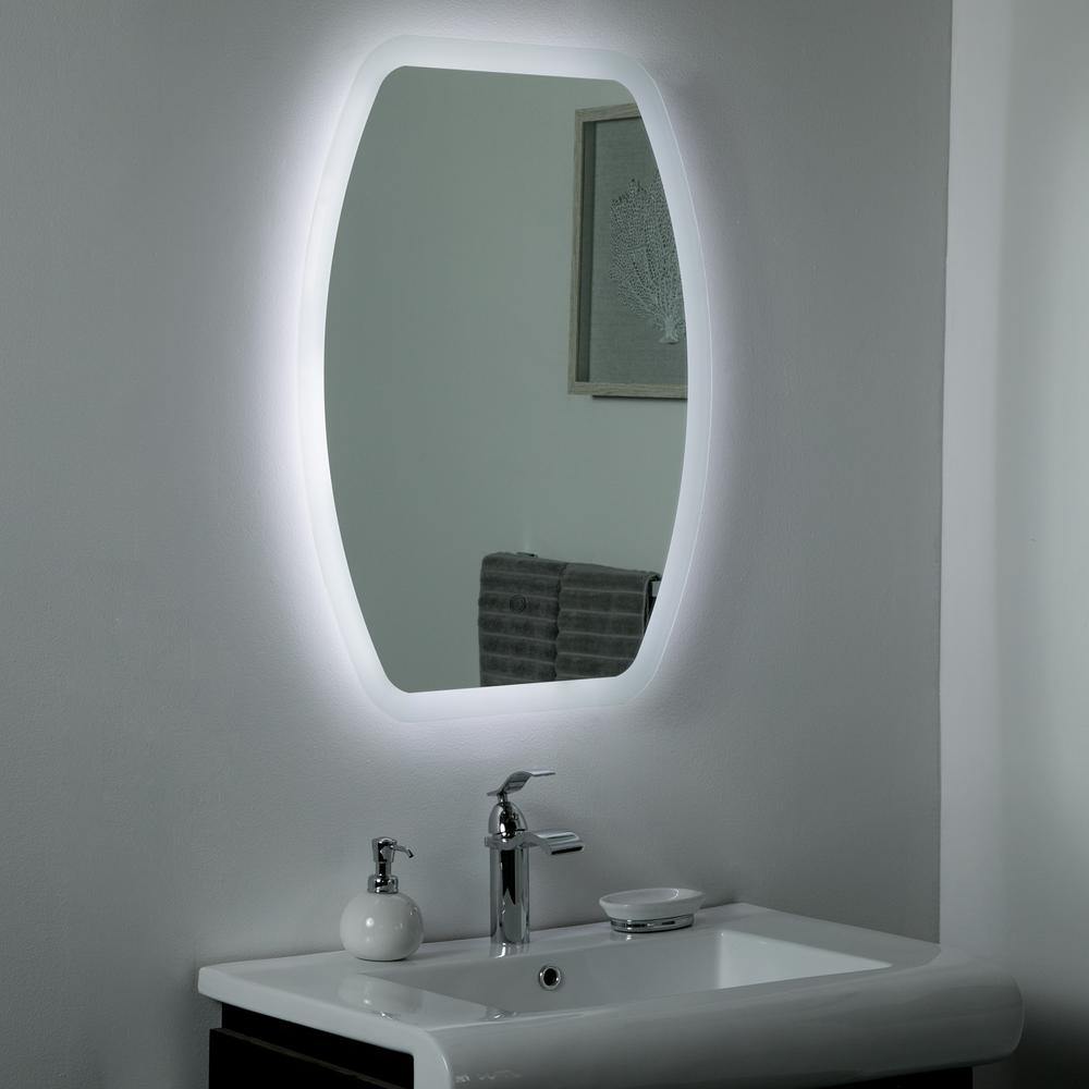 Decor Wonderland 21 In W X 29 In H Frameless Oval Led Light Bathroom Vanity Mirror In Silver Ssl208 The Home Depot