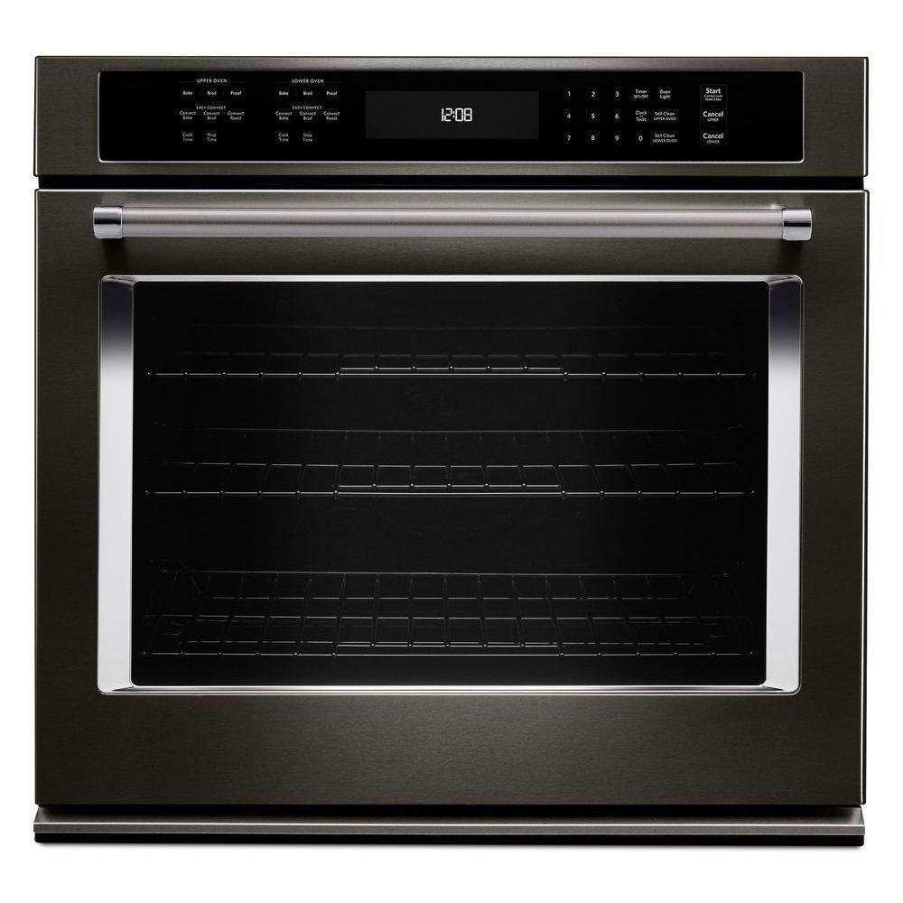 30 Wall Ovens Kitchenaid 30 In Single Electric Wall Oven Self Cleaning With Convection In Black Stainless
