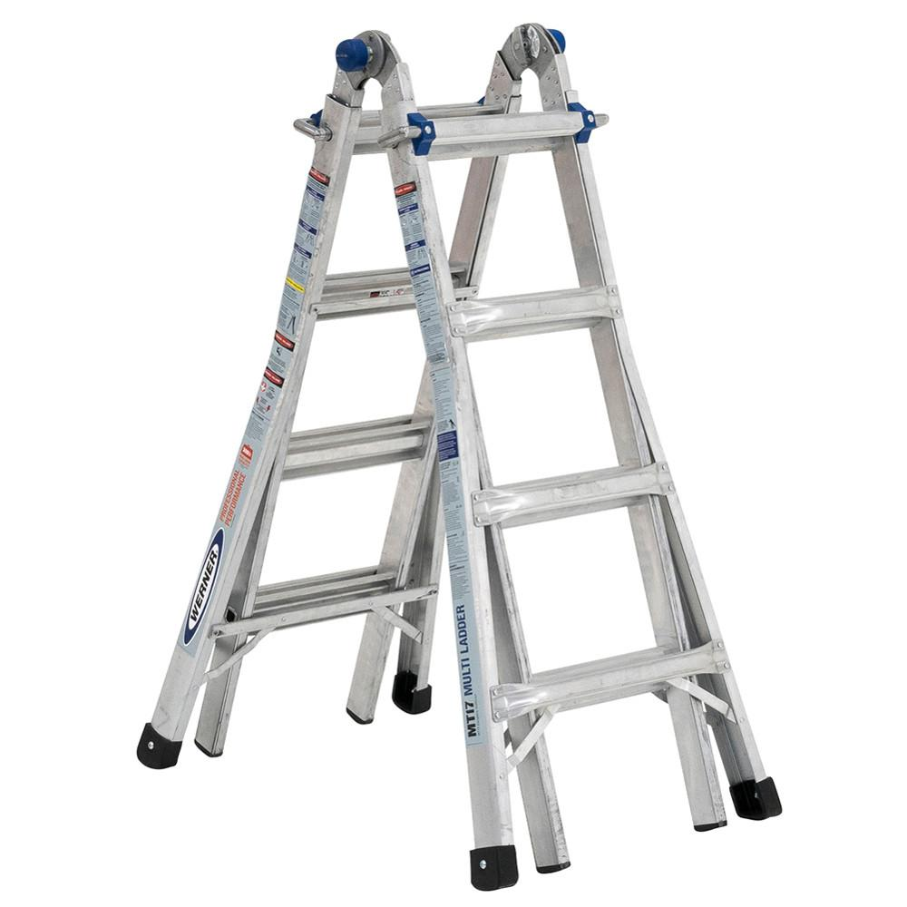 Werner Multiposition Ladder Multi Position Ft Aluminum Lb Werner 5-in-1 Telescoping 18 Ft. Reach Aluminum Multi