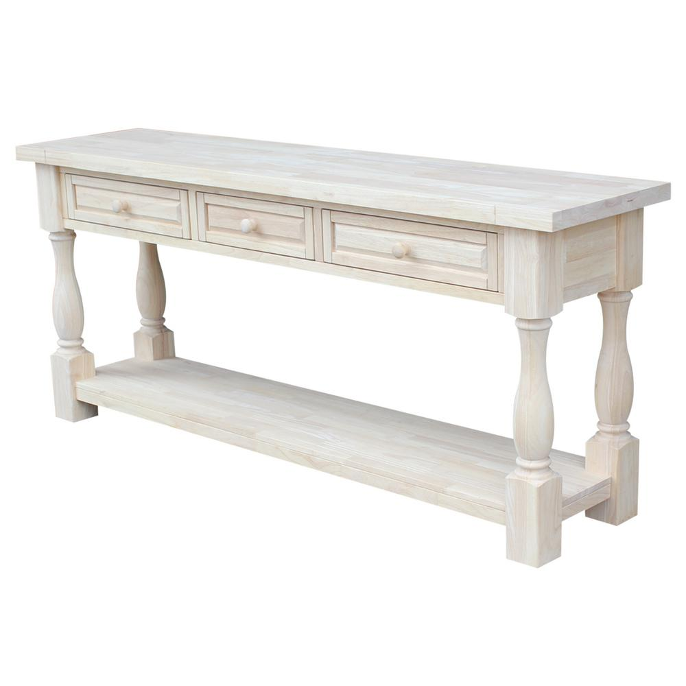Table Unfinished Wood International Concepts Tuscan Unfinished Storage Console Table