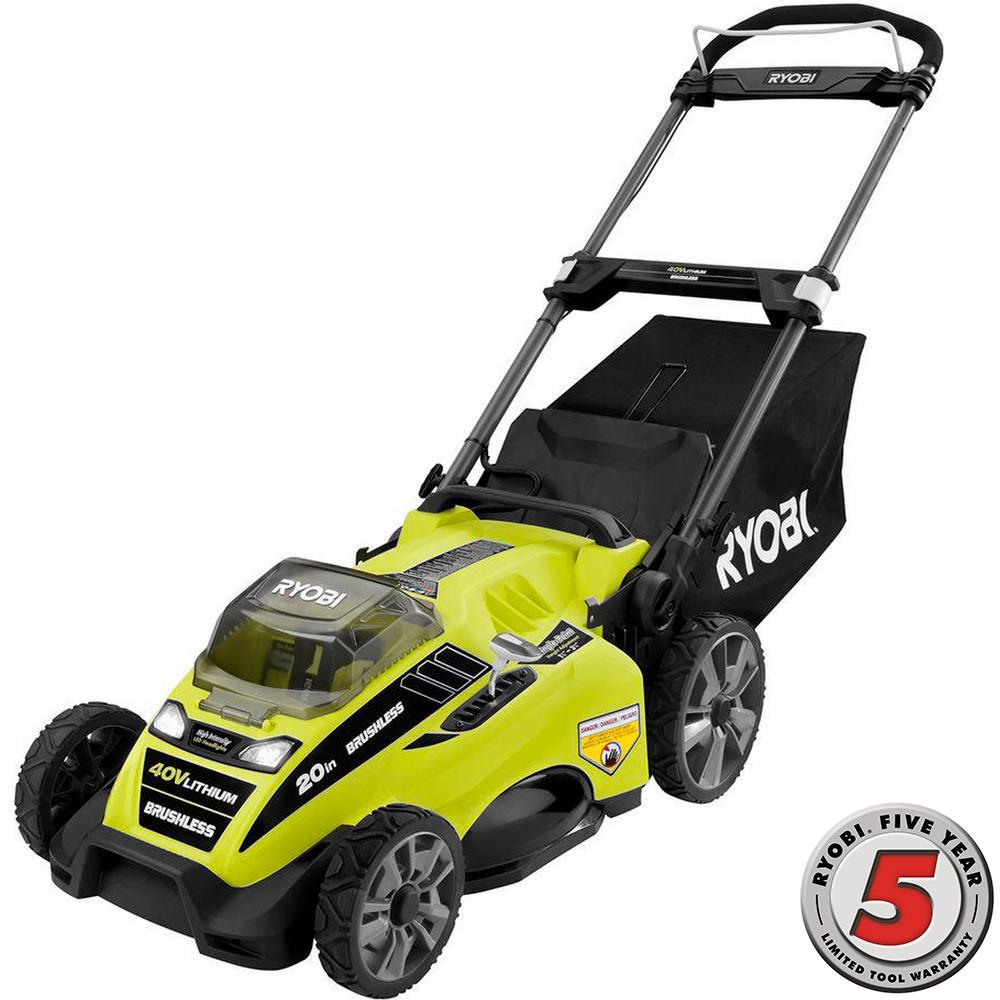 Electric Lawn Mower Sale Ryobi 20 In 40 Volt Brushless Lithium Ion Cordless Battery Walk Behind Push Lawn Mower 5 Ah Battery Charger Included