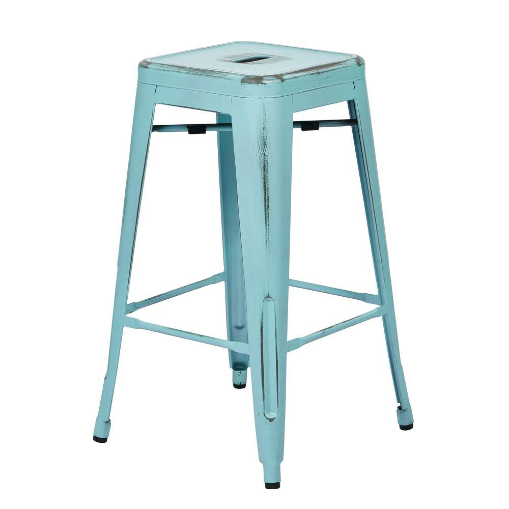 Metal Stools Bristow 26 In Antique Sky Blue Bar Stool Set Of 2