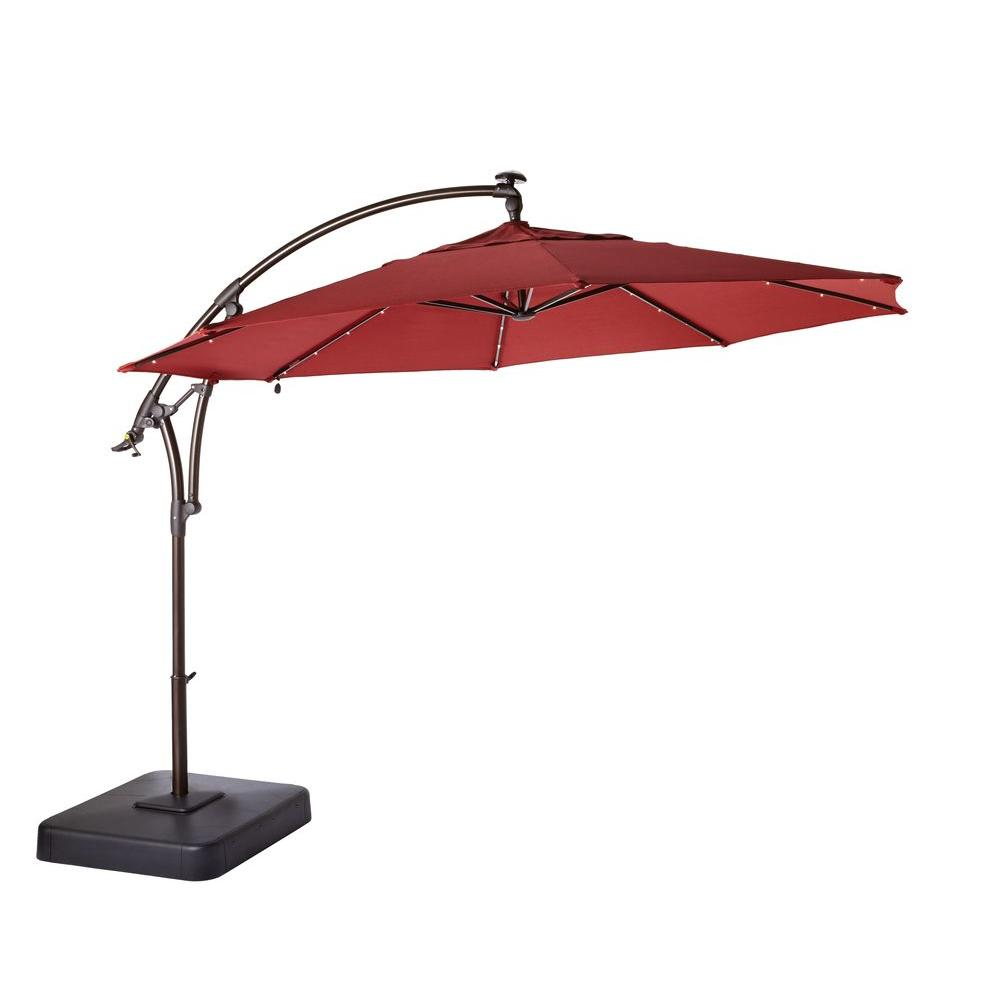 Hampton Bay 11 ft. LED Round Offset Patio Umbrella in