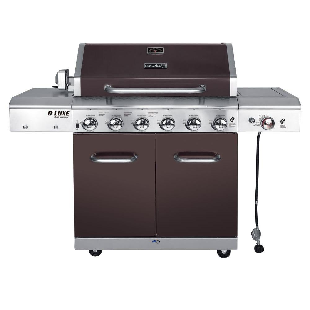 Gasgrill Seattle Deluxe 6 Burner Propane Gas Grill In Mocha With Ceramic Searing Side Burner
