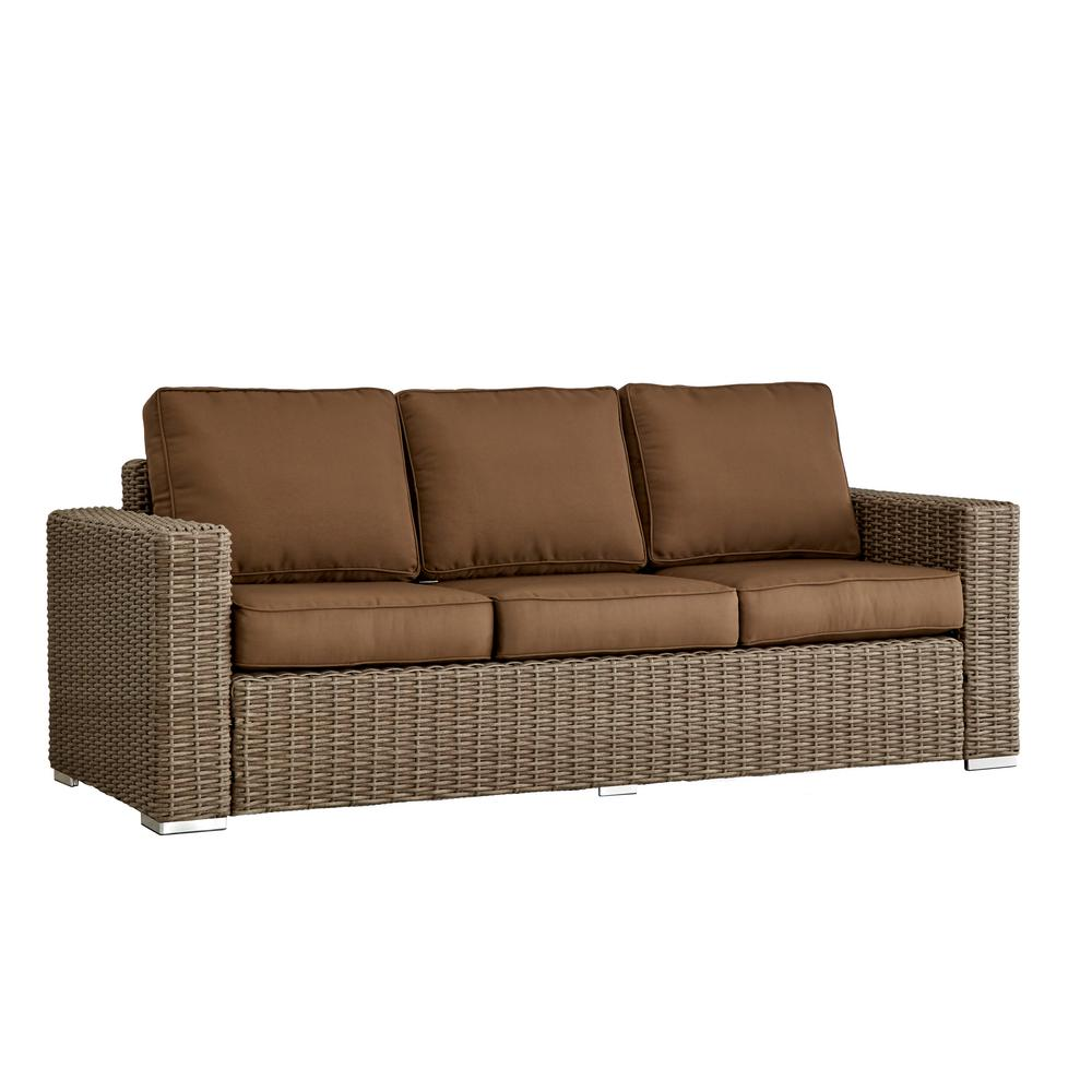 Square Sofa Homesullivan Camari Mocha Square Arm Wicker Outdoor Sofa With Brown Cushion