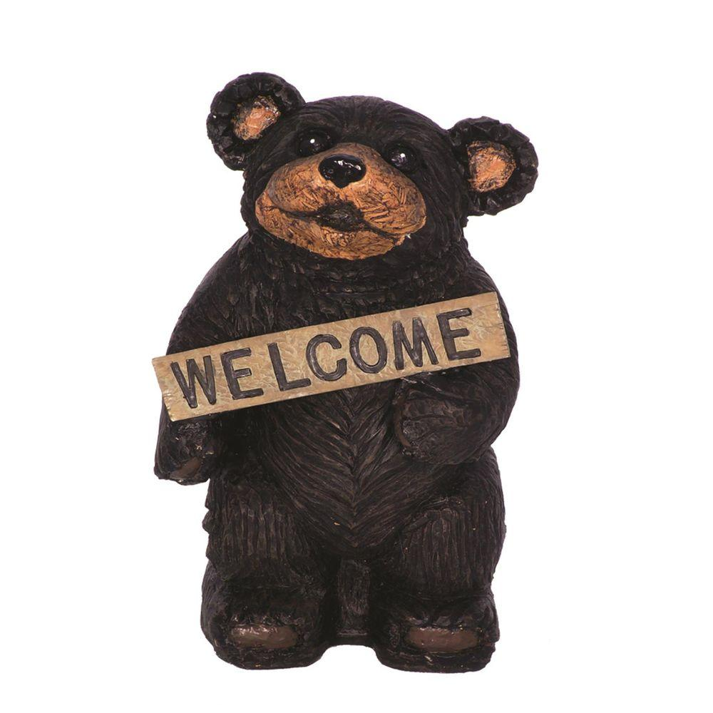 Welcome Statues Garden Call Of The Wild 18 In Standing Bear Holding Welcome Sign Home And Garden Statue