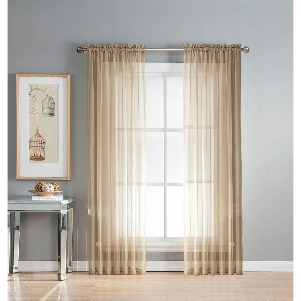 Double Wide Curtain Panels Window Elements Sheer Linen Solid Voile Extra Wide Sheer Rod Pocket Curtain Panel 54 In W X 63 In L