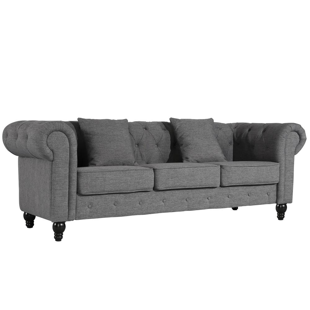 Sofa In Chesterfield Look Poly And Bark Hendrick Chesterfield Sofa In Gray Hd 344 Gry The