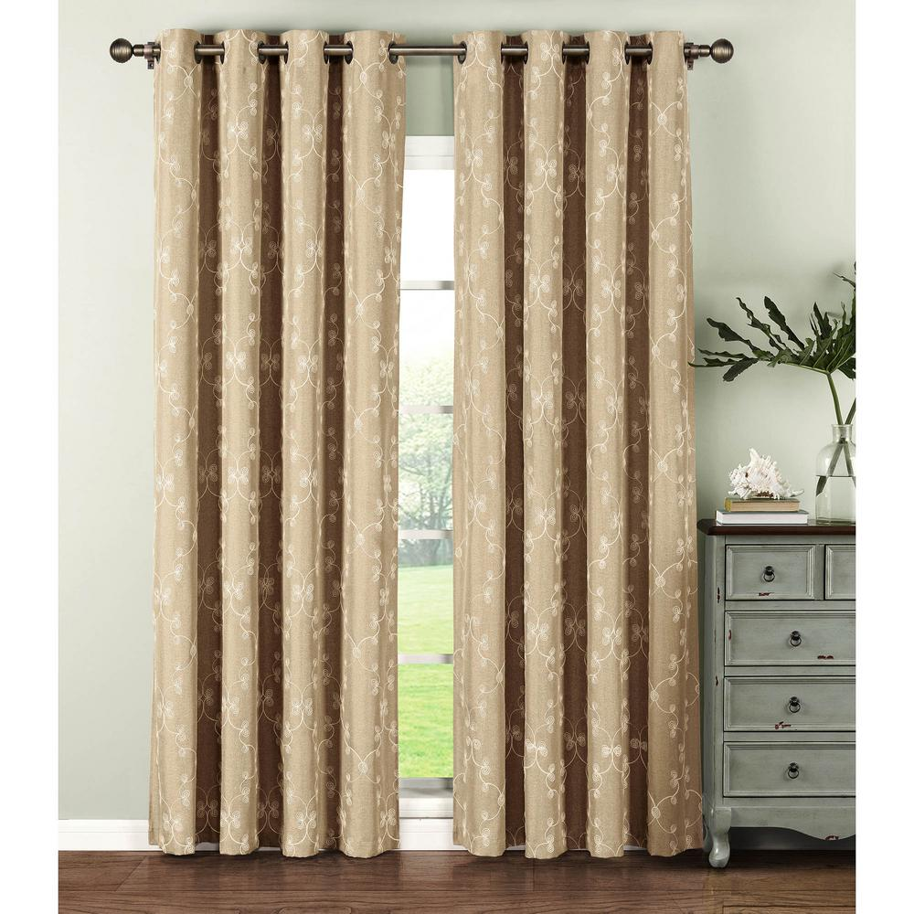 104 Inch Curtains Window Elements Semi Opaque Geo Gate Embroidered Faux Linen Extra Wide 84 In L Grommet Curtain Panel Pair Ivory Set Of 2