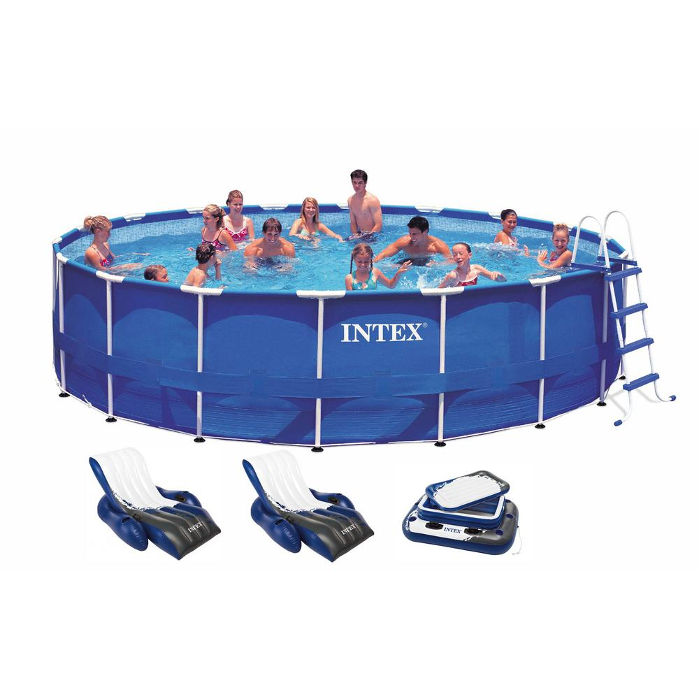 Jacuzzi Pool Deluxe Intex 18 Ft X 48 In Deep Round Metal Frame Above Ground Swimming Pool With 1500 Gfci Pump