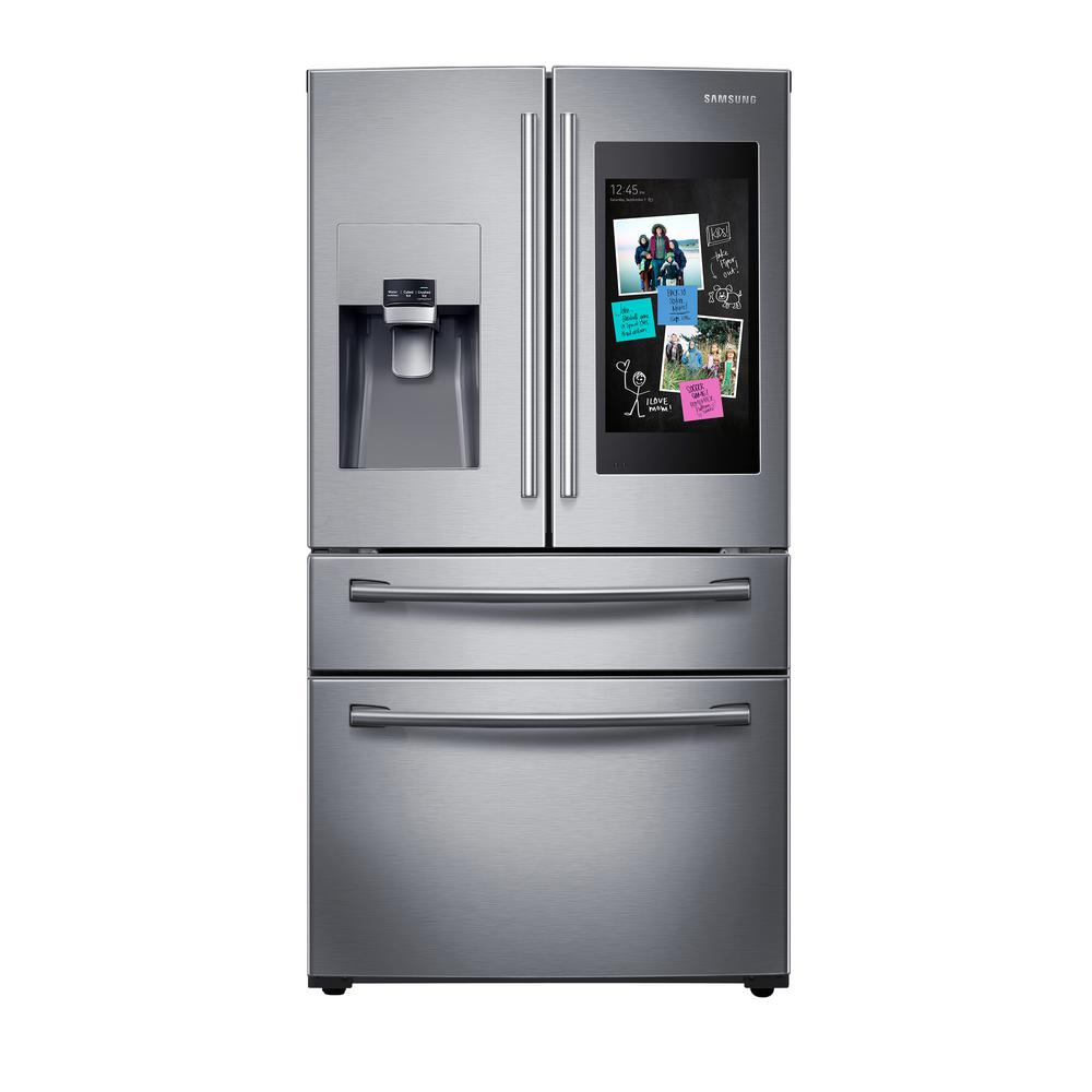 Home Depot Fridges Canada Samsung 27 7 Cu Ft Family Hub 4 Door French Door Smart Refrigerator In Stainless Steel
