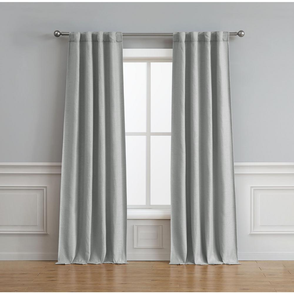 Curtain Insulation Fabric Bella Luna Astrid Thermal Room Darkening Backtab Window Curtain Pair In Light Grey 76 In X 96 In