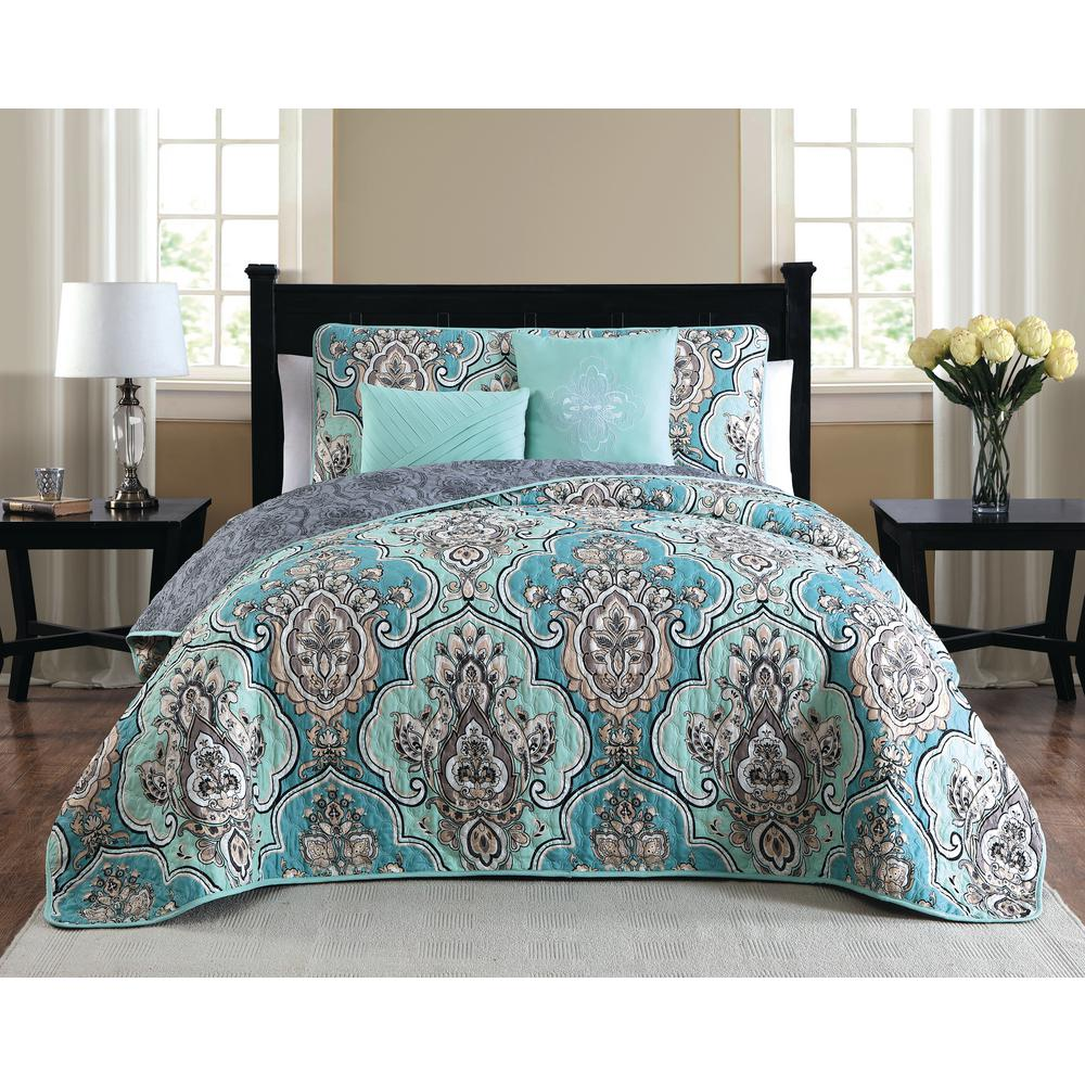 Quilt Sets Odette 5 Piece Teal Queen Quilt Set