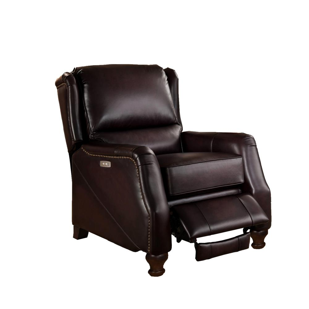 Electric Recliner Leather Chairs Amax Hydeline Brown Davis Power Recliner