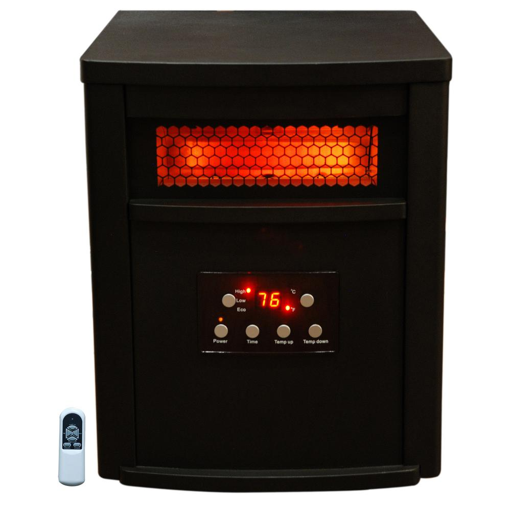 Home Depot Space Heater 1500 Watt 8 Element Infrared Electric Portable Heater With Remote Control Thermostat Timer And Multi Heat Settings