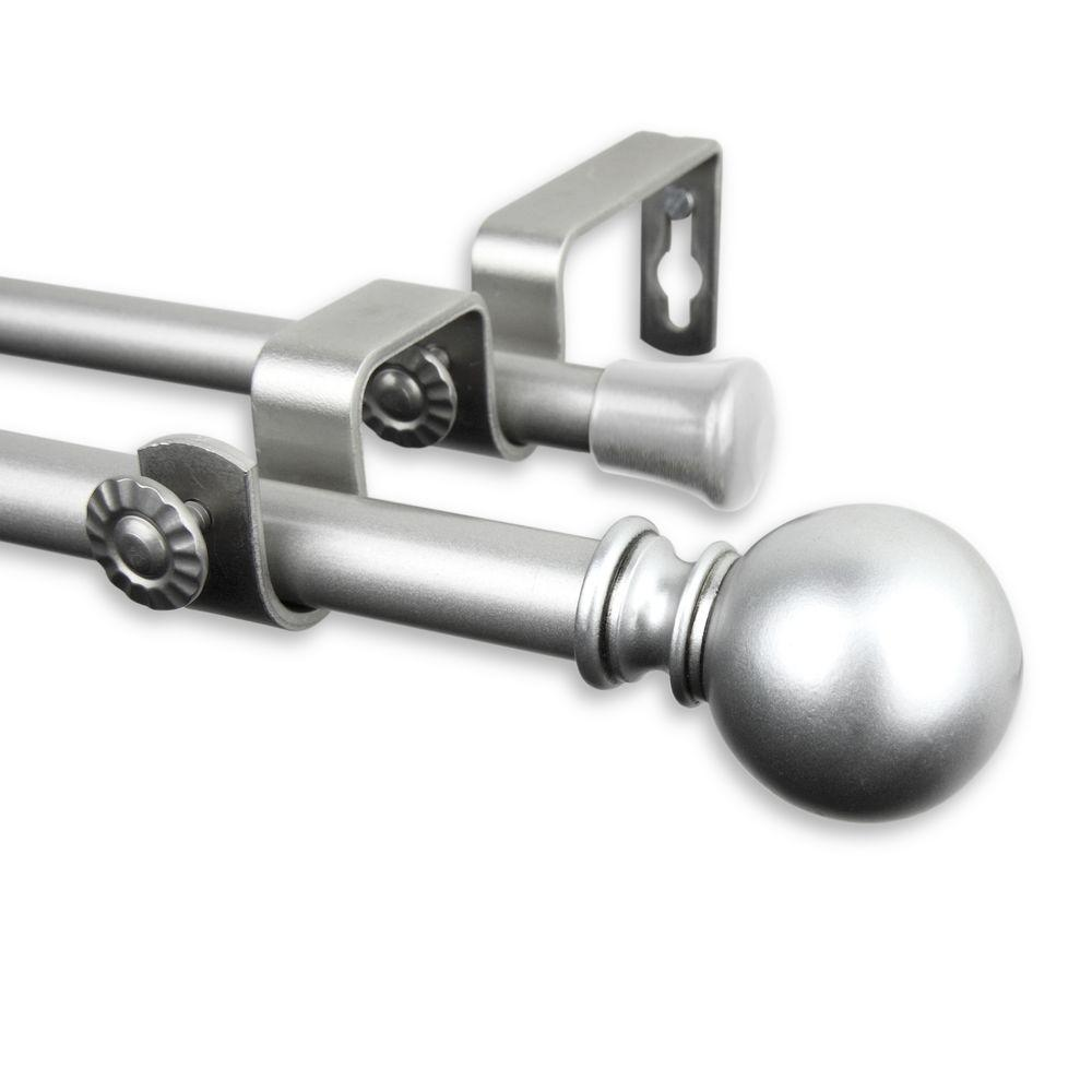 Rod Desyne 48 In 84 In Telescoping 5 8 In Double Curtain Rod Kit In Satin Nickel With Luna Finial 5710 485d The Home Depot