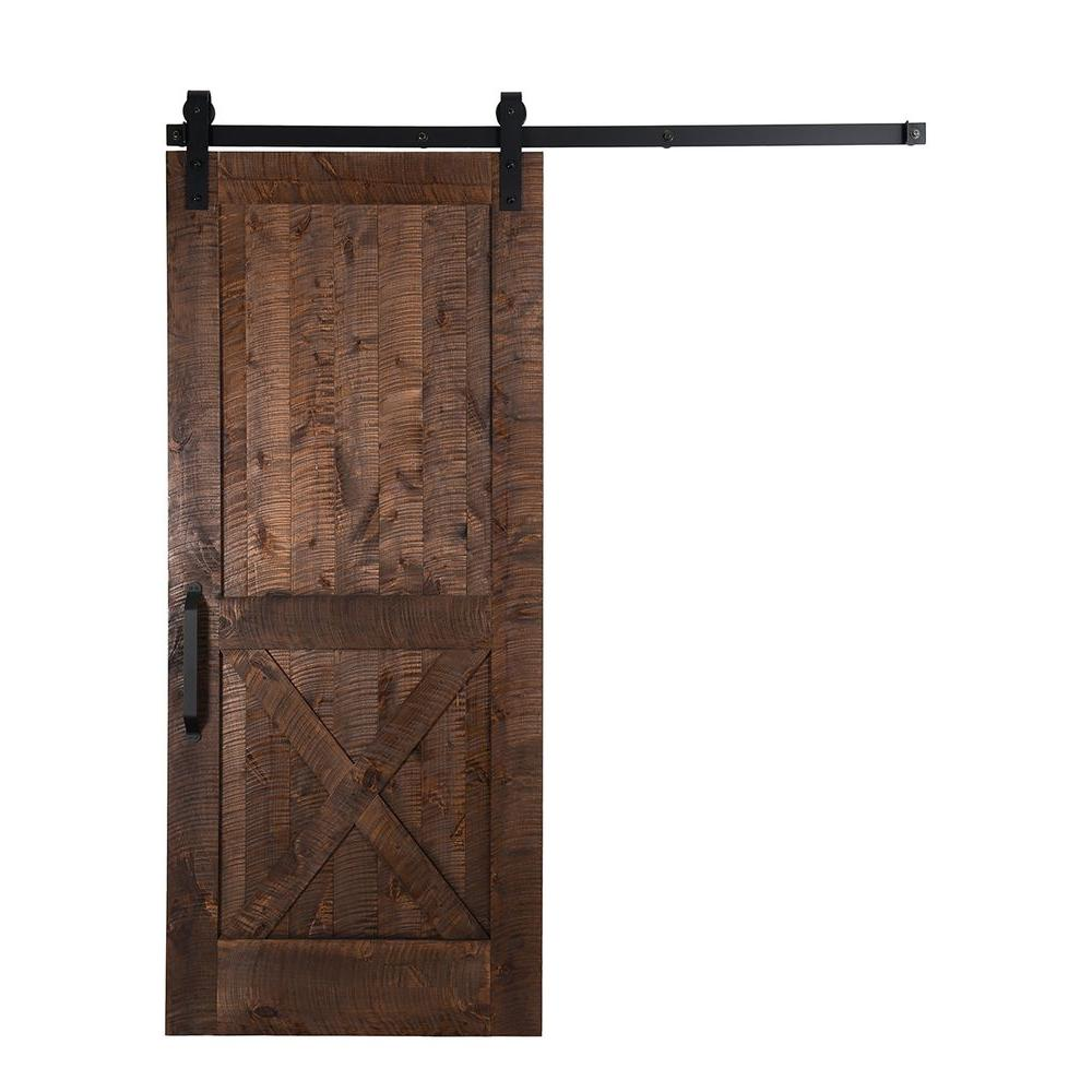 Barn Doors For Homes Rustica Hardware 42 In X 84 In Stain Glaze Clear Rockwell Rough Sawn Unassembled Wood Barn Door With Sliding Door Hardware Kit