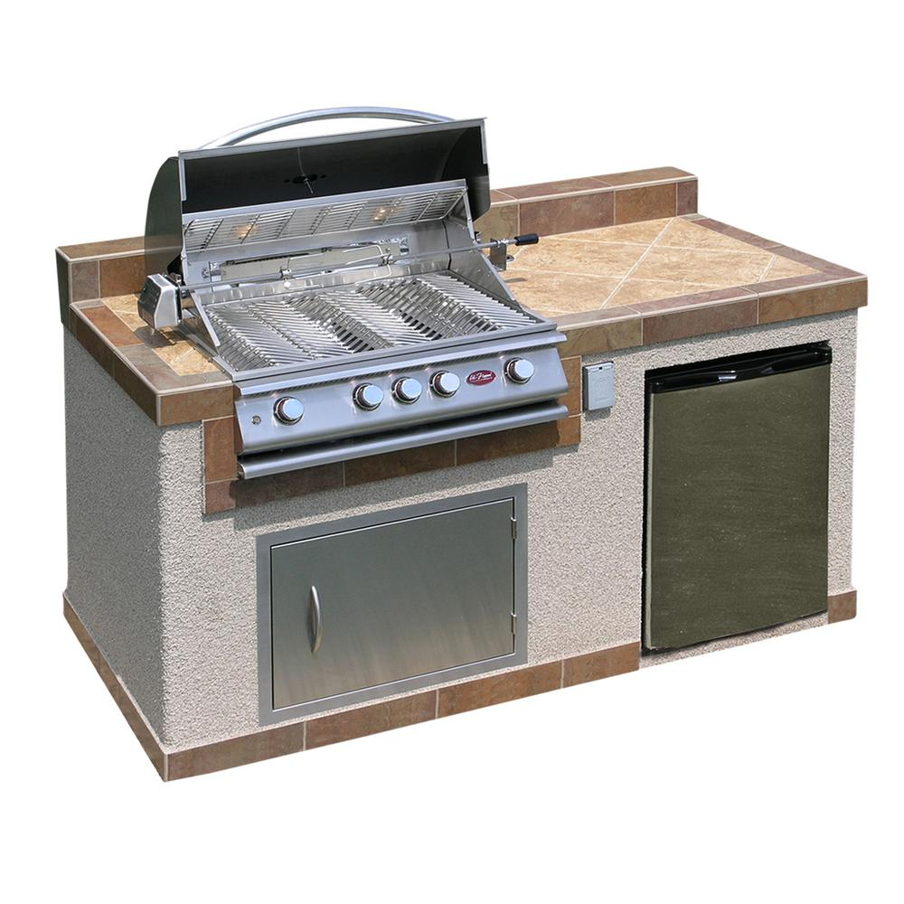 Outdoor Grill Cal Flame Outdoor Kitchen 4 Burner Barbecue Grill Island With Refrigerator