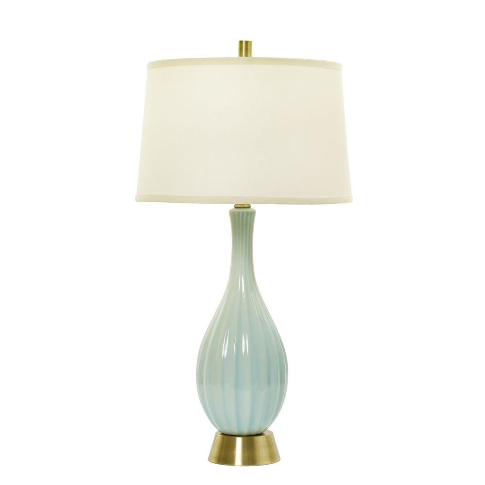 Glass Crackle Lamp 32 In Spa Blue Crackle And Silver Ceramic Table Lamp With Ripple Design
