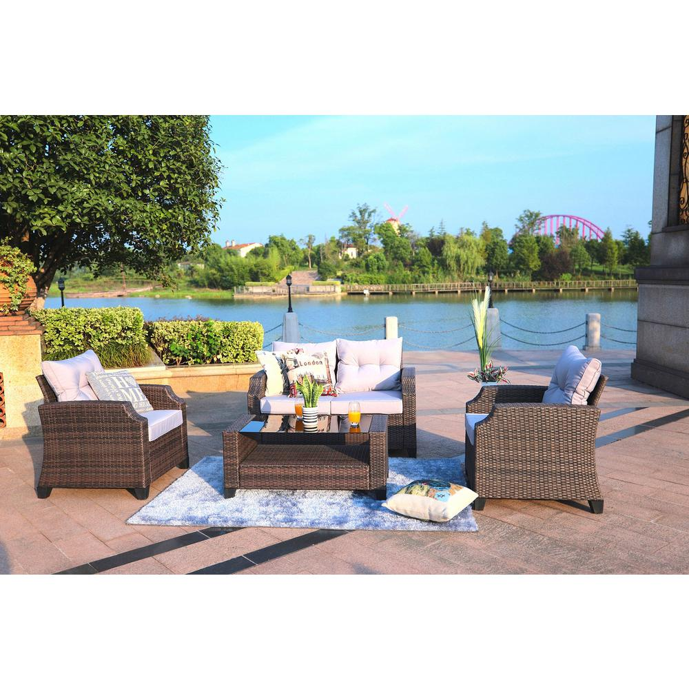 Baptist 6 Piece Rattan Sofa Set With Cushions Direct Wicker Baptist 4 Piece Wicker Patio Conversation Set With Grey Cushions