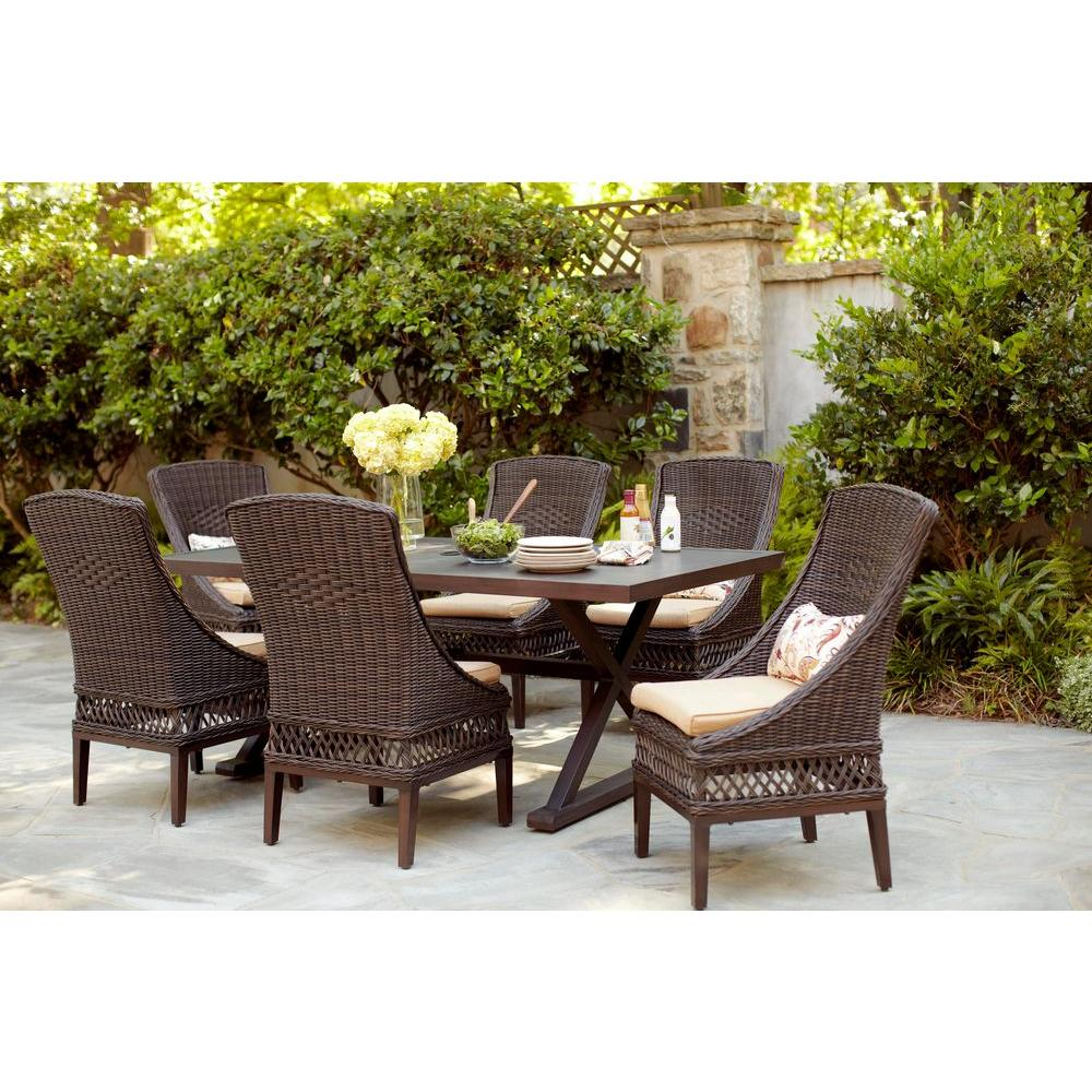 Patio Outdoor Hampton Bay Woodbury 7 Piece Wicker Outdoor Patio Dining Set With Textured Sand Cushions