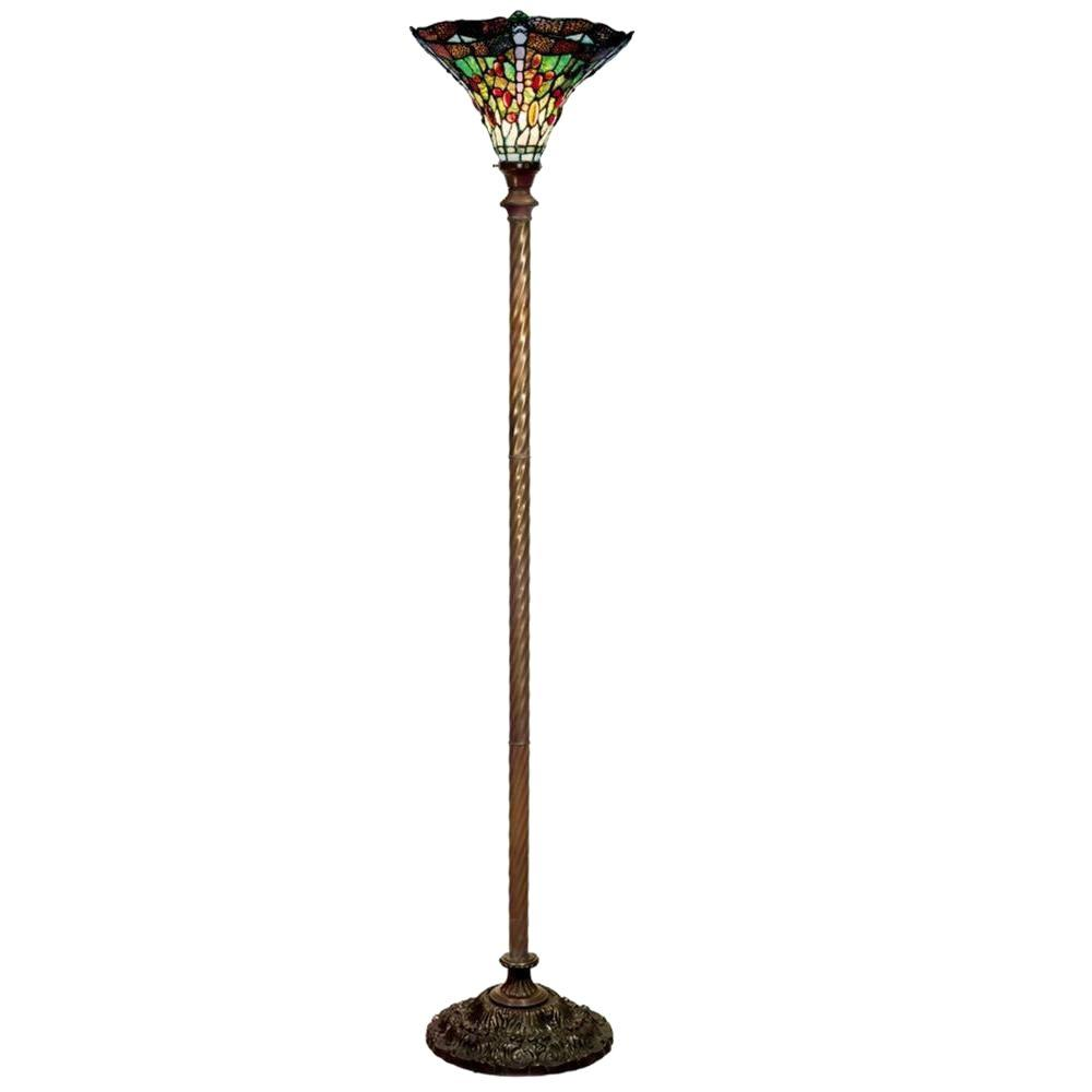 Glass Lamp Bowl Warehouse Of Tiffany 72 In Antique Bronze Dragonfly Stained Glass Floor Lamp With Foot Switch