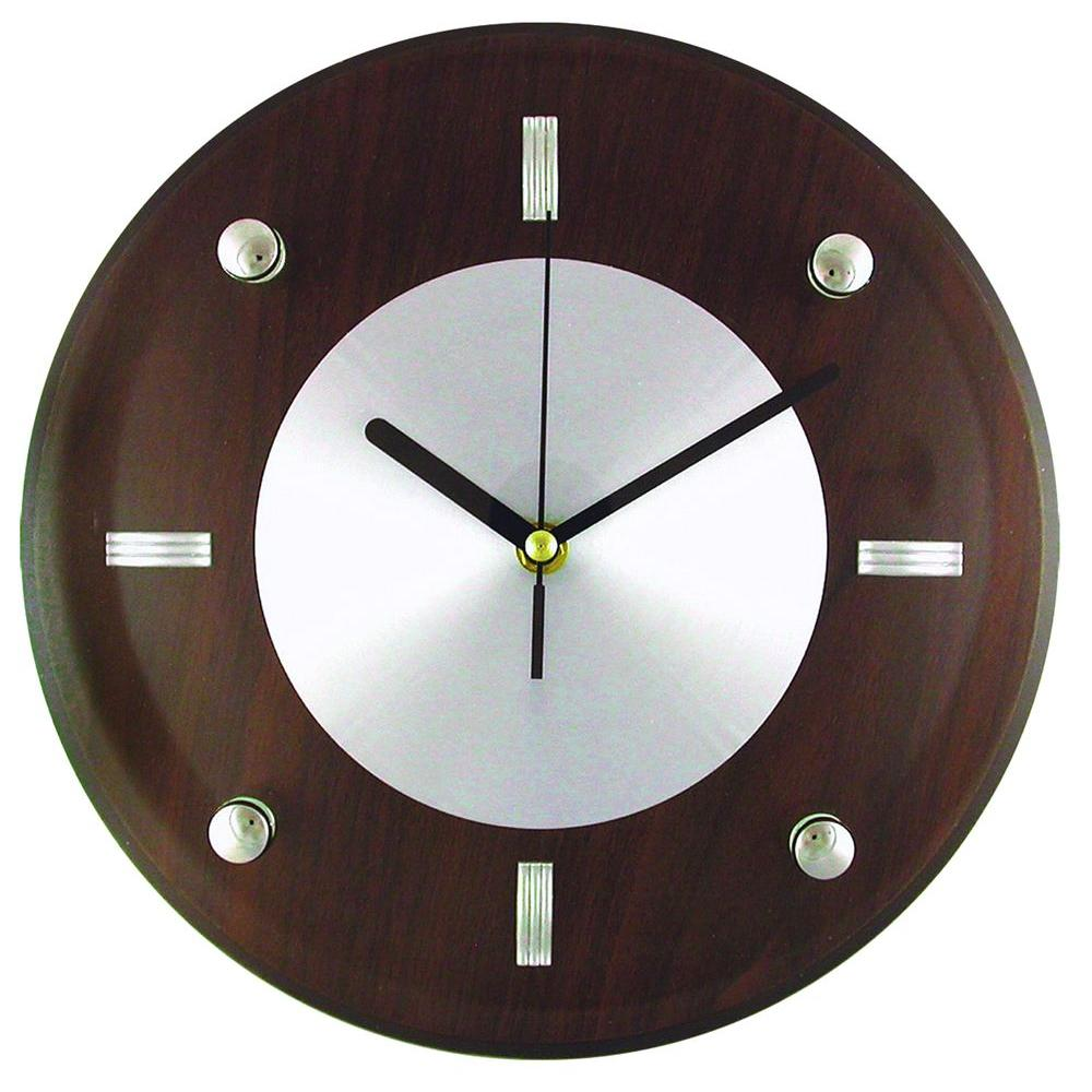 Wall Clock Design 10 3 4 In Glass And Brown Wood Wall Clock With Quartz Movement