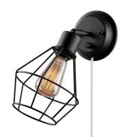 Globe Electric 1-Light Black Shade Plug-in Wall Sconce ...