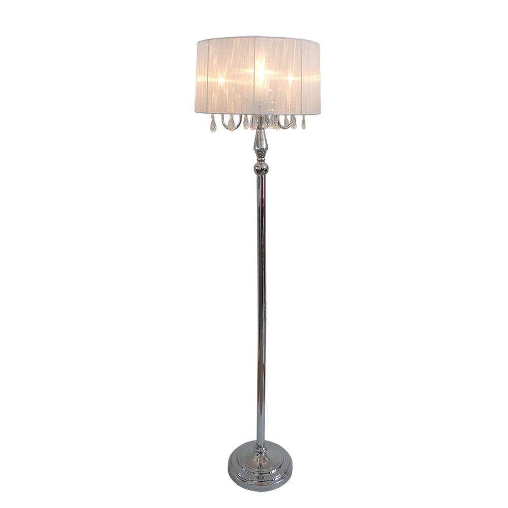 Floor Table Lamps Elegant Designs Crystal Palace 61 5 In Trendy Romantic White Sheer Shade Chrome Floor Lamp With Hanging Crystals