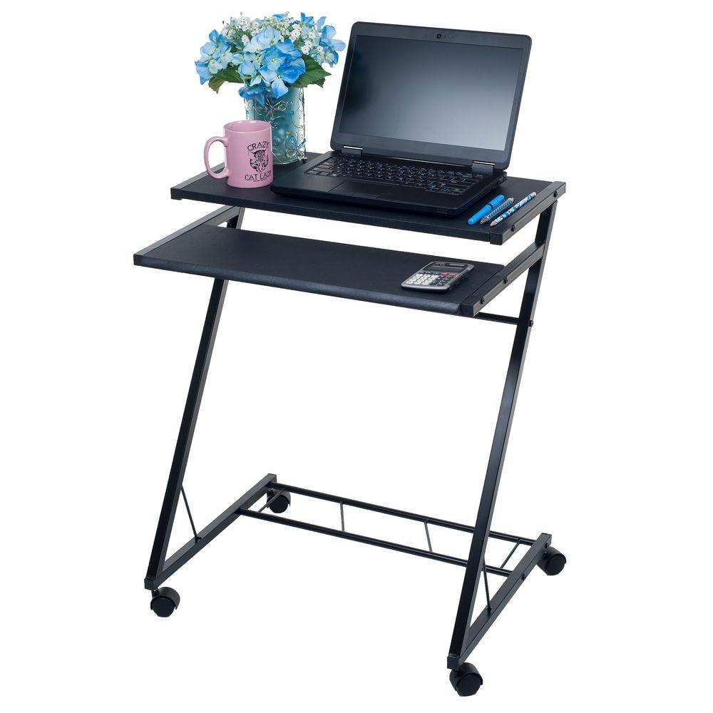 Modern Compact Computer Desk Black Laptop Desk With Wheels