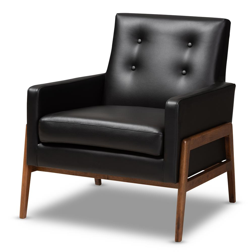 Leather Lounge Baxton Studio Perris Black Faux Leather Lounge Chair